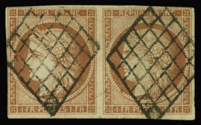 The 1 franc vermilion : extremely rare as a multiple.