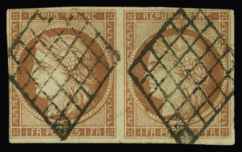 Le 1 franc vermillon : un timbre rare en multiple